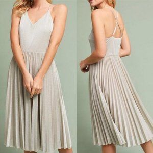Anthropologie Elevenses Silver Party Dress